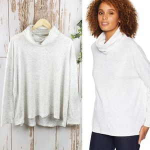 Dylan Flecked Cowl Neck Top White EUC Large Comfy